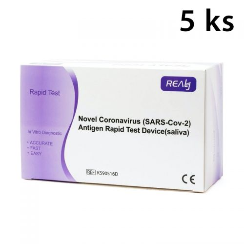 Antigenní test ze slin BOX (5 ks) 138,-/ks REALY™ Novel Coronavirus (SARS-Cov-2) Antigen rapid test Device (saliva)